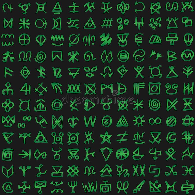 La matrice de Digital et les symboles verts de code informatique dirigent le fond sans couture illustration libre de droits
