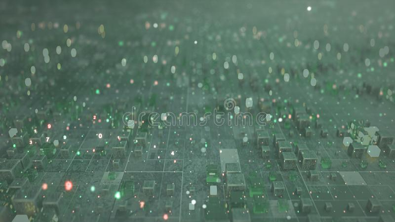 La matrice dei cubi e del codice 3D dell'elaboratore digitale rende l'illustrazione con DOF illustrazione di stock
