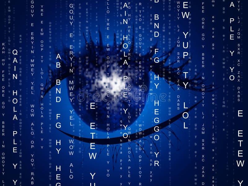 La matrice dell'occhio indica il computer di programmazione e l'ottica royalty illustrazione gratis