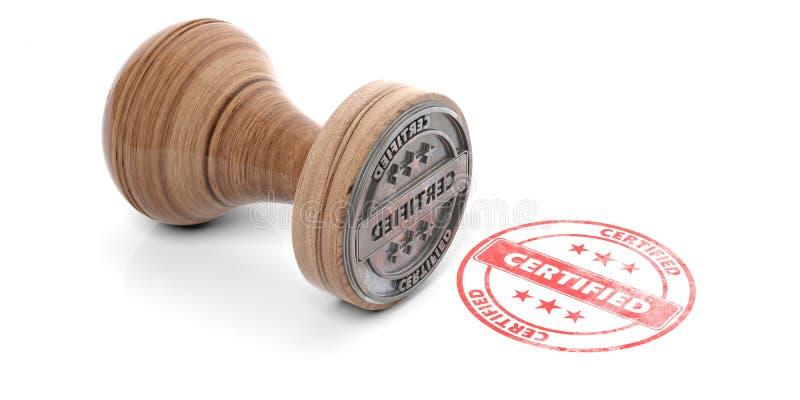 La matriz y el sello de goma redondos de madera con el texto certificaron aislado en el fondo blanco ilustración 3D ilustración del vector