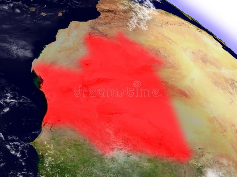 Download La Mauritanie De L'espace Accentué En Rouge Illustration Stock - Illustration du orbite, planète: 77161753