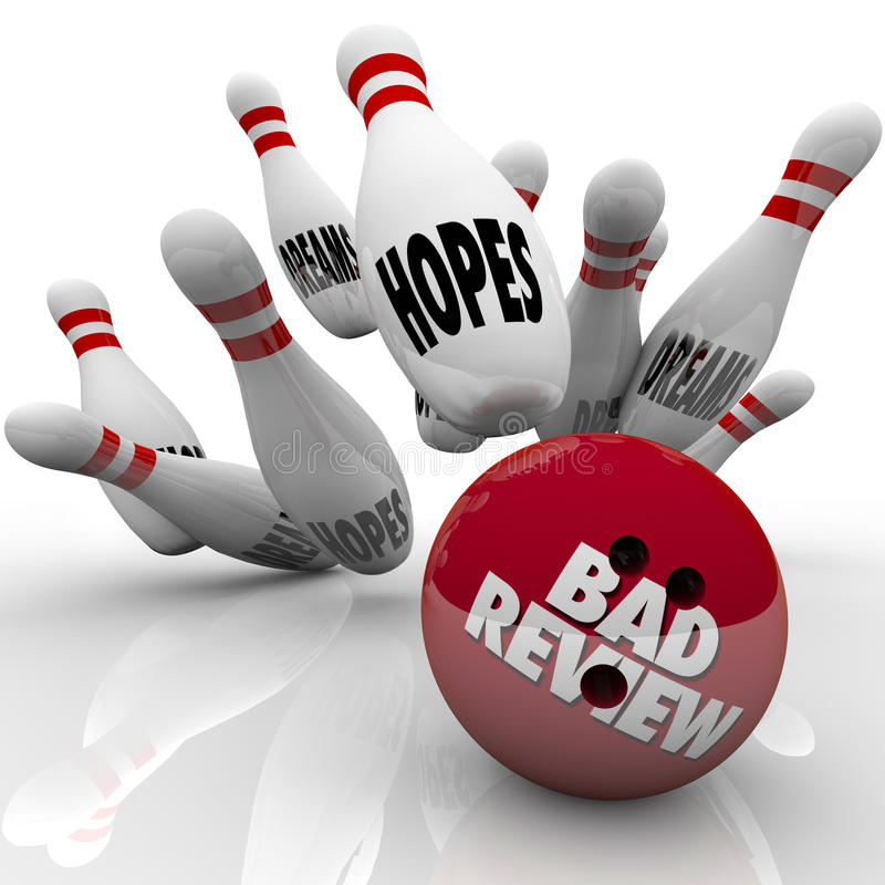 La mauvaise boule de bowling de dégradation des performances d'examen heurte des rêves d'espoirs illustration stock