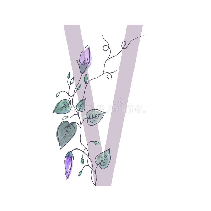 La mayúscula del alfabeto se adorna con flo rizado ilustración del vector