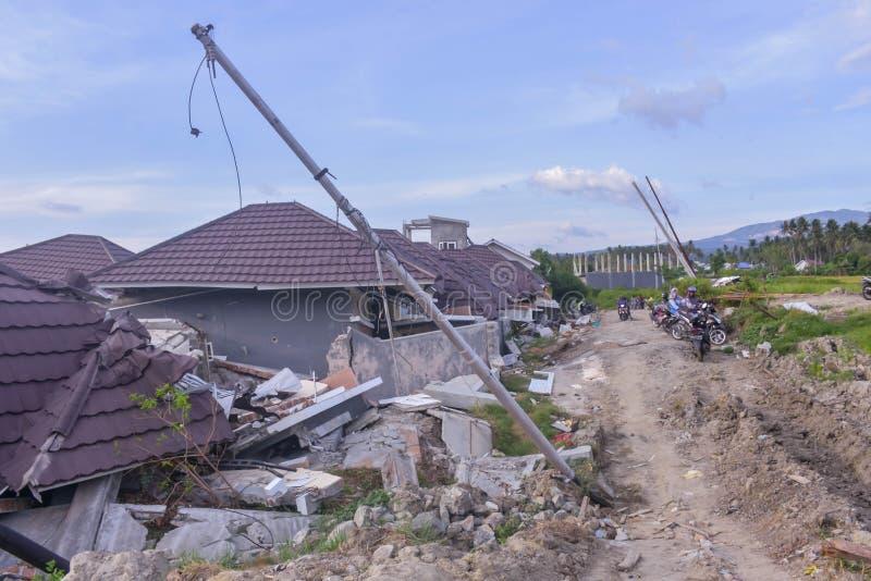 La mayoría de la licuefacción severa Petobo Sulawesi central del terremoto del daño fotos de archivo libres de regalías