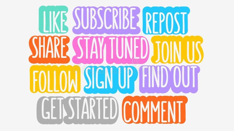 La mayoría de la llamada a las acciones popular bloguea los postes para gráfico de vector social del canal del blog video de Vlog ilustración del vector
