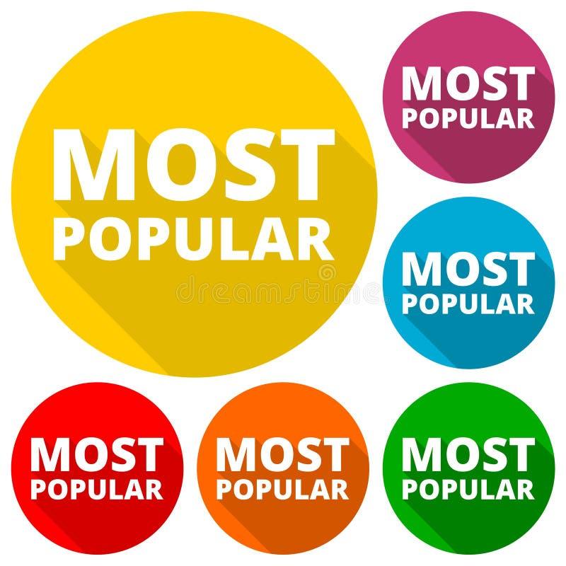 La mayoría de los iconos populares fijados con la sombra larga ilustración del vector