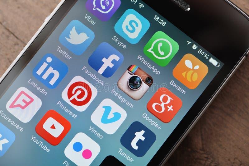 La mayoría de los medios iconos sociales populares foto de archivo