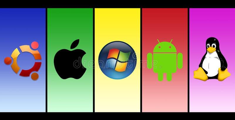 La mayoría de los sistemas operativos populares ilustración del vector