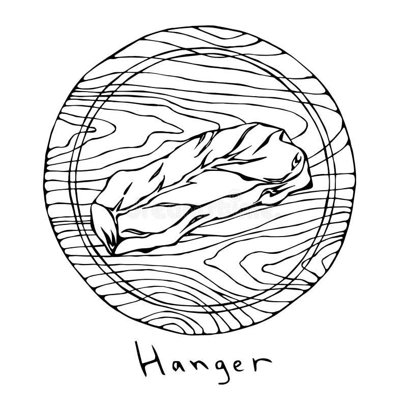 La mayoría de la suspensión popular del filete en una tabla de cortar de madera redonda Corte de la carne de vaca Guía de la carn libre illustration