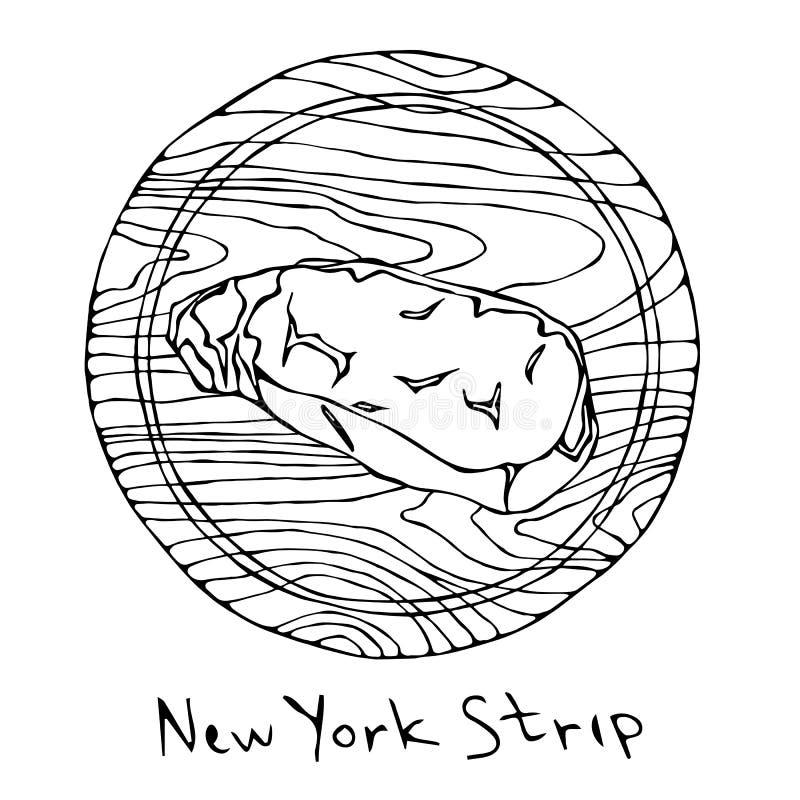 La mayoría de la tira popular de Nueva York del filete en una tabla de cortar de madera redonda Corte de la carne de vaca Guía de stock de ilustración