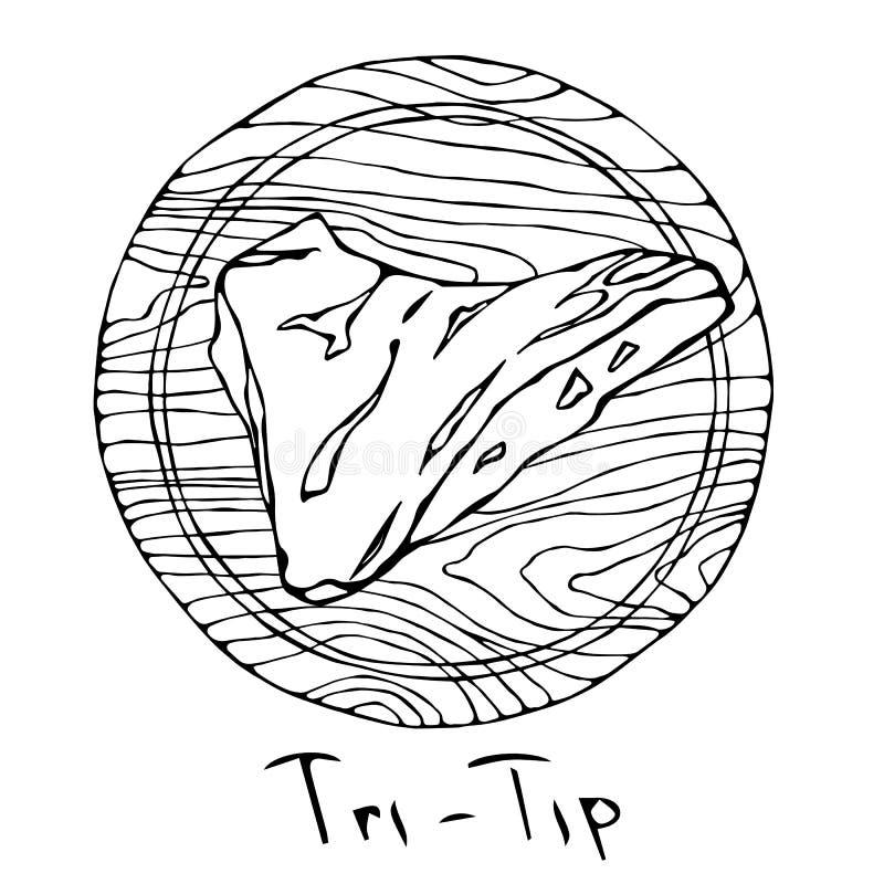 La mayoría de la Tri extremidad popular del filete en una tabla de cortar de madera redonda Corte de la carne de vaca Guía de la  ilustración del vector