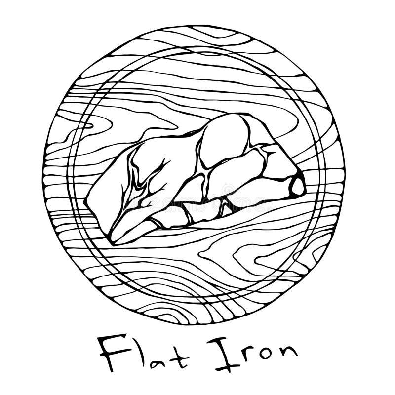 La mayoría del hierro plano del filete popular en una tabla de cortar de madera redonda Corte de la carne de vaca Guía de la carn stock de ilustración