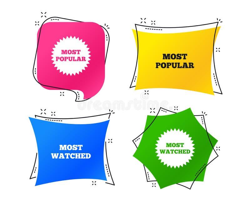 La mayoría del icono popular de la estrella La mayoría del símbolo mirado Vector stock de ilustración