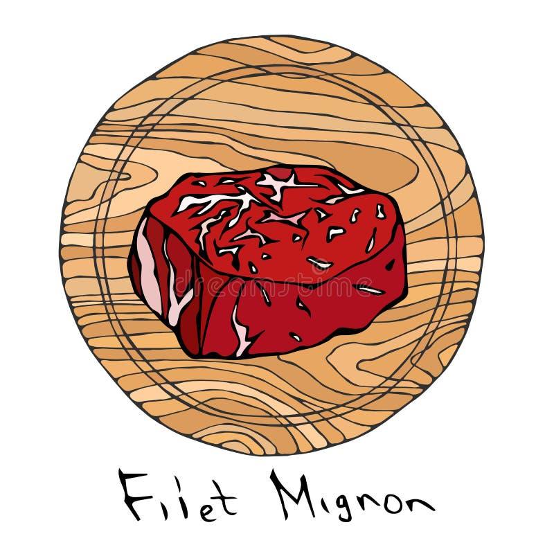La mayoría del Mignon de prendedero popular del filete en una tabla de cortar de madera redonda Corte de la carne de vaca Guía de stock de ilustración