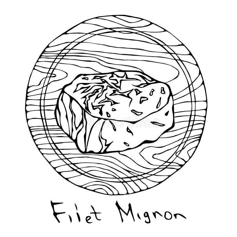 La mayoría del Mignon de prendedero popular del filete en una tabla de cortar de madera redonda Corte de la carne de vaca Guía de ilustración del vector