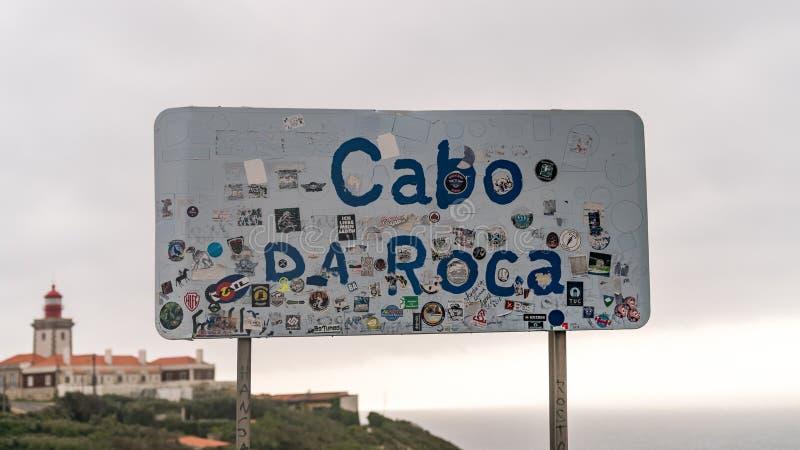 La mayoría del punto occidental de Europa, señal de tráfico de Cabo DA Roca, Sintra Portugal fotos de archivo libres de regalías