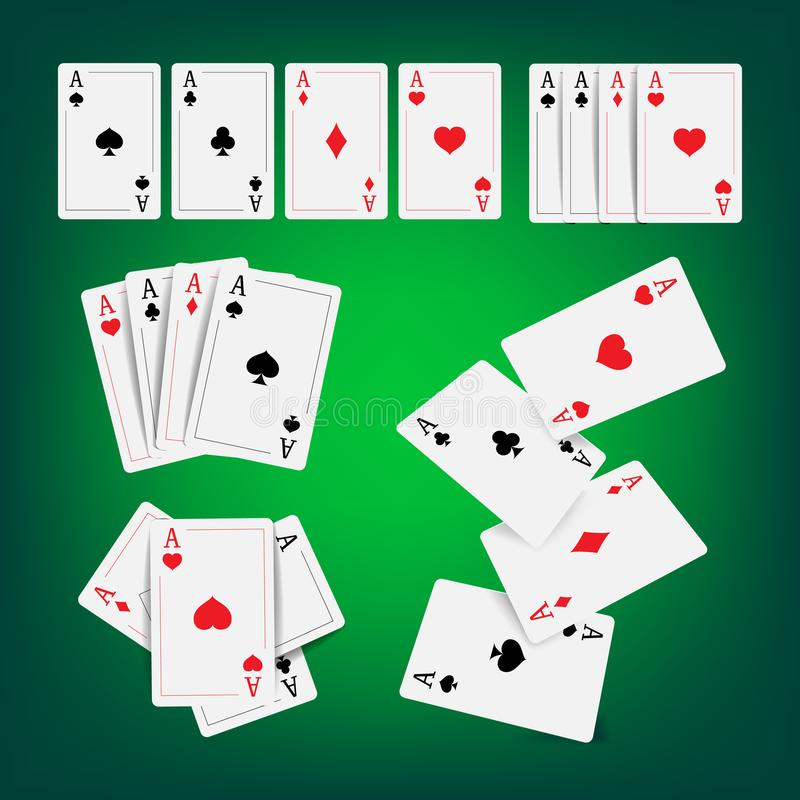 La mazza del casinò carda il vettore Classico che gioca l'illustrazione realistica di gioco delle carte illustrazione vettoriale