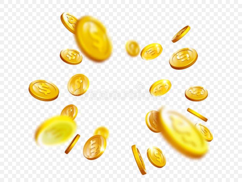 La mazza del casinò di vittoria di posta di bingo della spruzzata della moneta di oro conia il fondo di vettore 3D royalty illustrazione gratis
