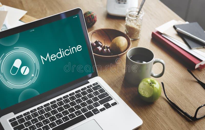 La medicina droga concepto del gráfico de la atención sanitaria del recordatorio imagen de archivo