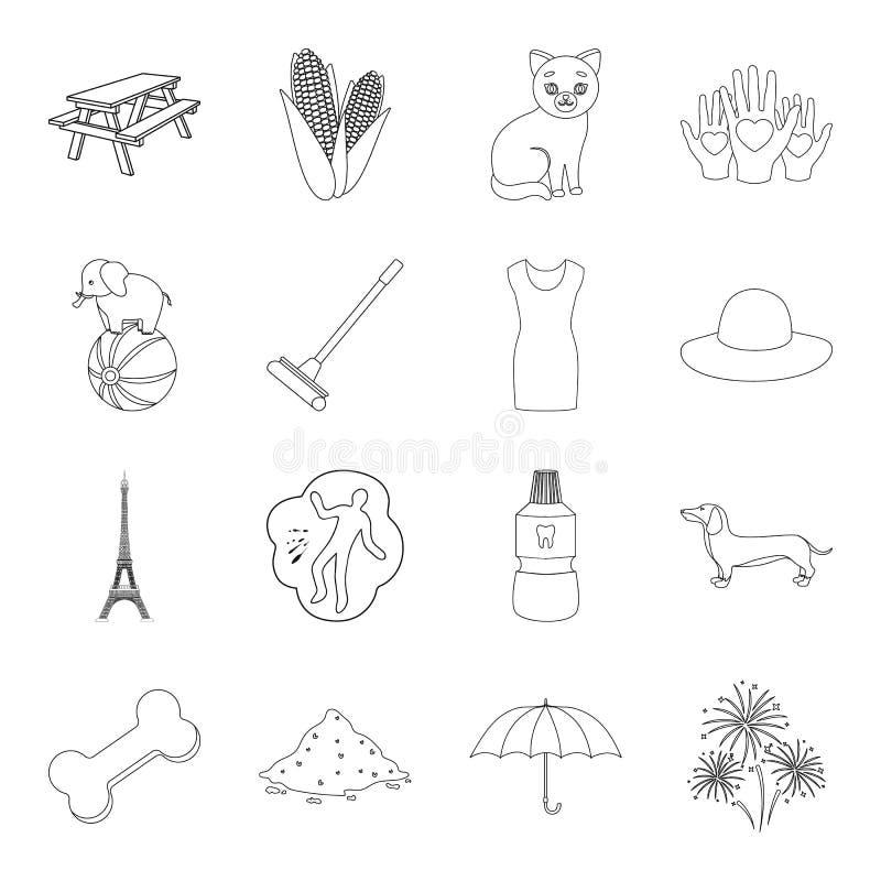 La medicina, el circo, el viaje y el otro icono del web en estilo del esquema belleza, moda, iconos de la celebración en la colec libre illustration
