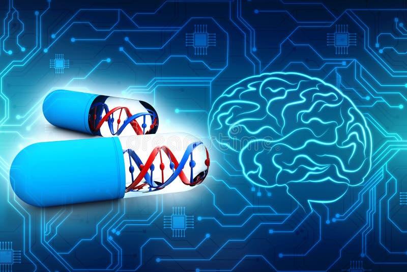 La medicina genética con la DNA aisló en fondo digital 3d rinden stock de ilustración