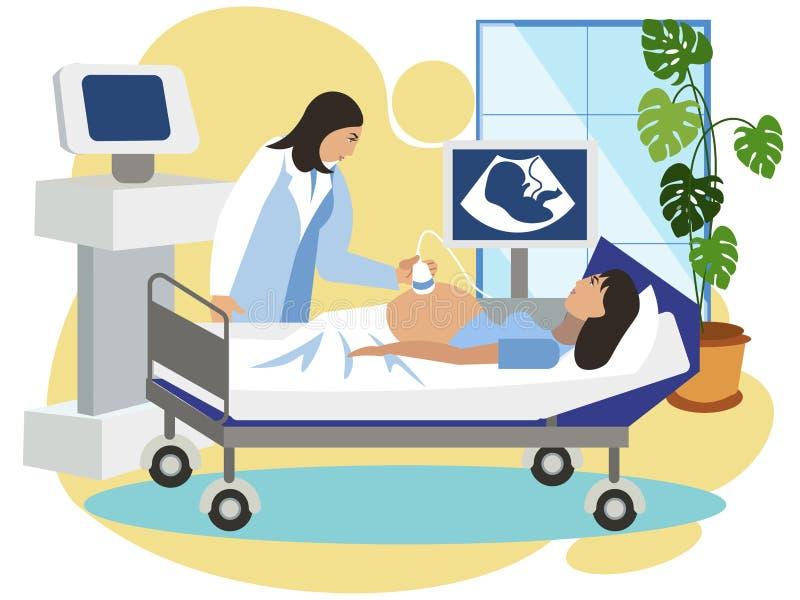 la medicina La mujer embarazada hace el ultrasonido del feto Oficina interior del ginecólogo Recepción, en estilo minimalista stock de ilustración
