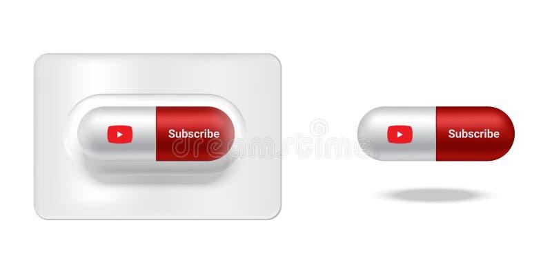 La medicina realistica della pillola o della capsula con i media sociali e Subscribe hanno isolato il fondo royalty illustrazione gratis