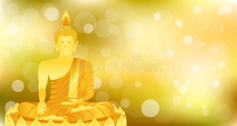 La meditación que se sienta de Buda del phra del monje en la base del loto del oro para ruega el lanzamiento compuesto concentrac stock de ilustración