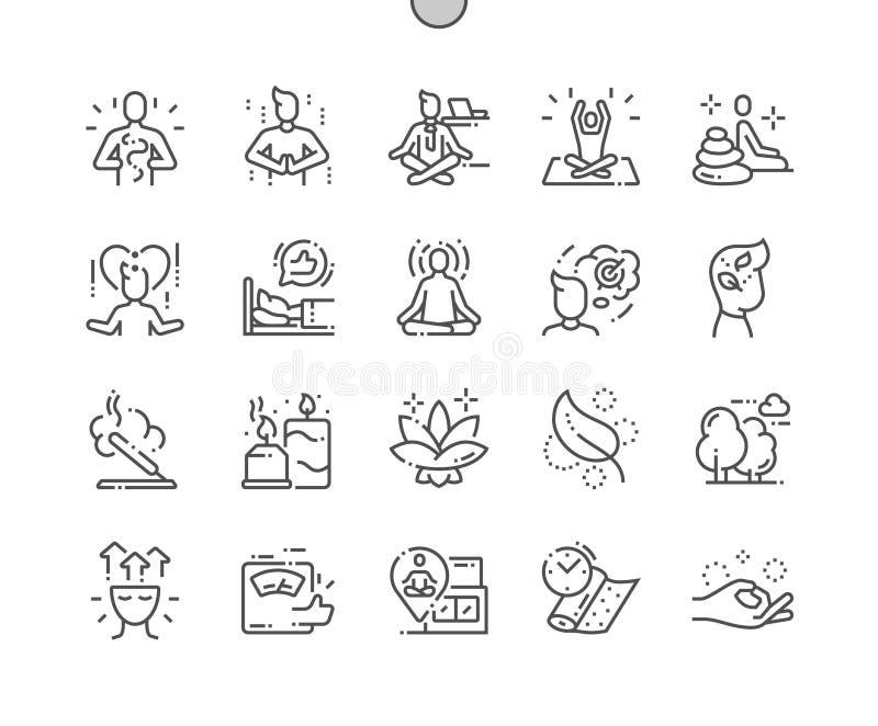 La meditación y las prácticas espirituales Bien-hicieron la línea fina iconos del vector a mano perfecto del pixel stock de ilustración