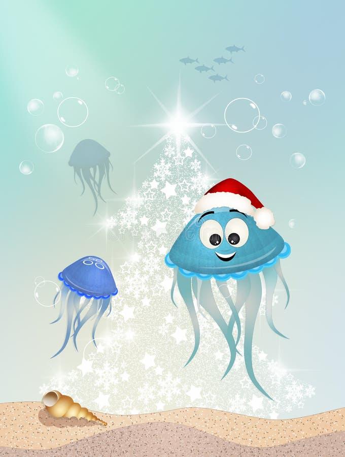 La medusa celebra il Natale royalty illustrazione gratis