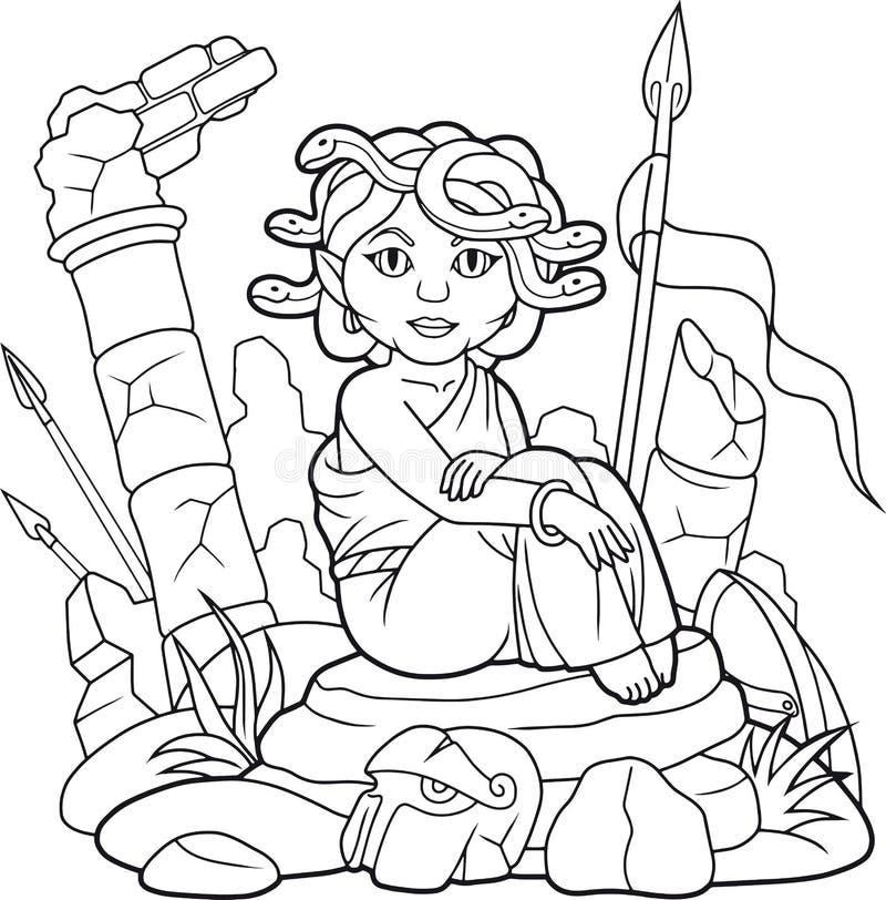 La medusa sta sedendosi sulle rocce che aspettano la sua preda royalty illustrazione gratis