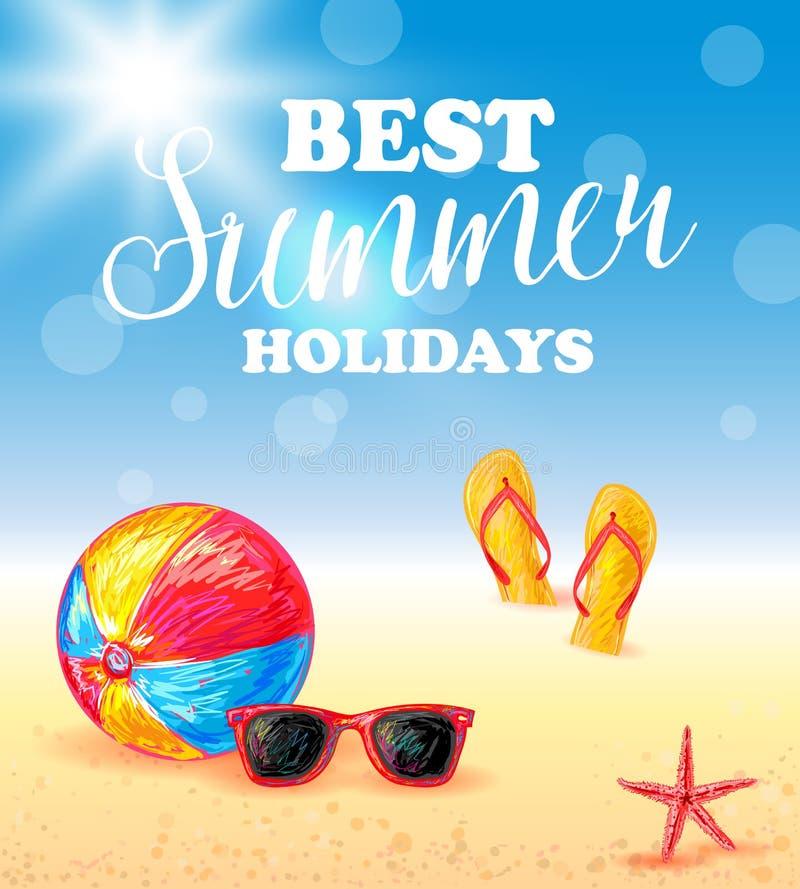 La meilleure affiche de vacances d'été illustration de vecteur