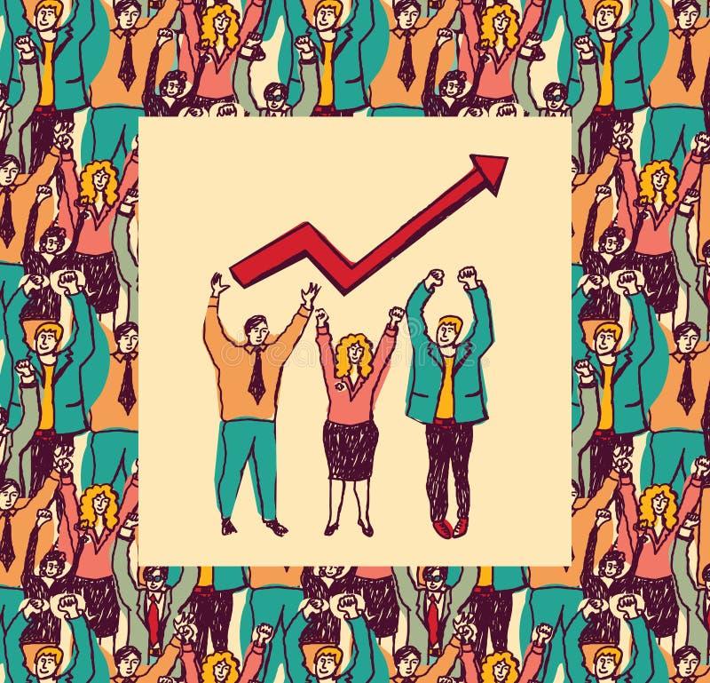 La meilleure carte de couleur d'équipe d'affaires élèvent la flèche illustration stock