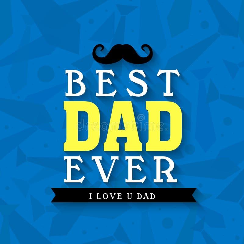La meilleure carte de voeux de papa pour le jour de père illustration de vecteur