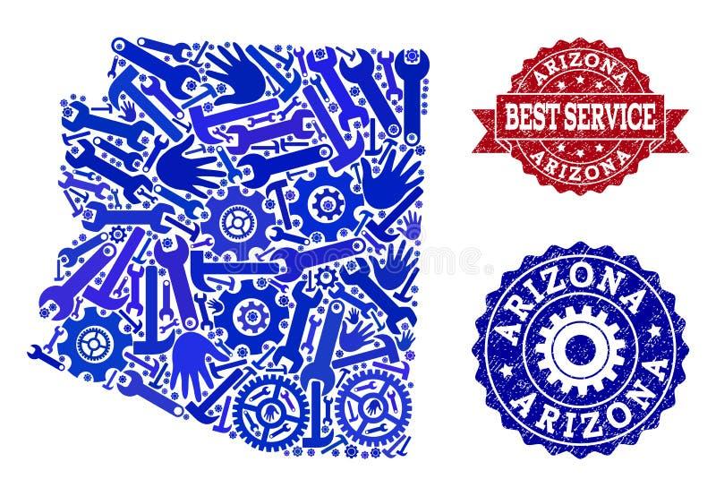 La meilleure composition de service de la carte de l'état de l'Arizona et des filigranes en caoutchouc illustration libre de droits