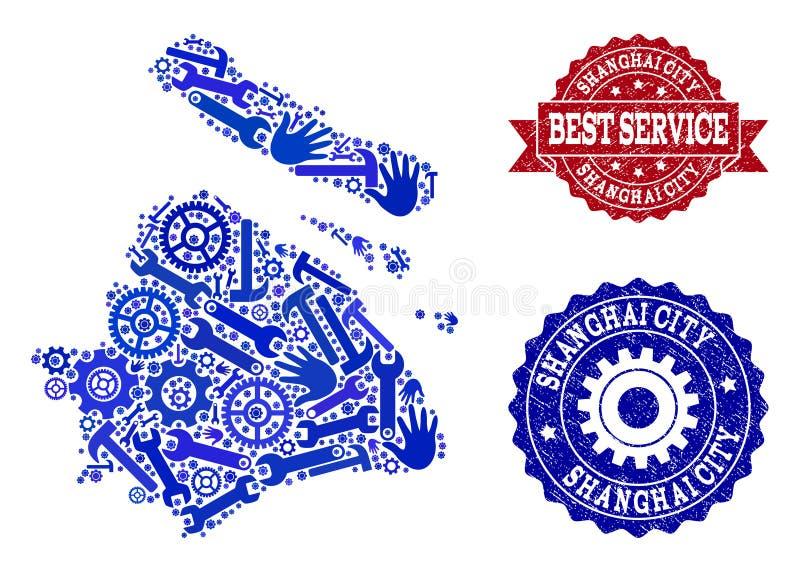 La meilleure composition de service de la carte de la municipalité de Changhaï et des joints en caoutchouc illustration de vecteur