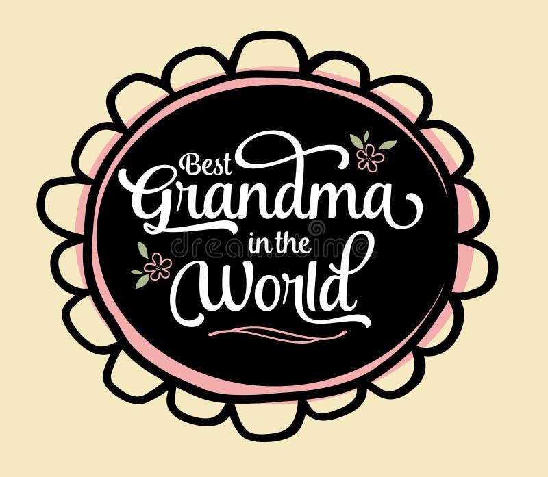 La meilleure grand-maman dans l'emblème du monde illustration libre de droits
