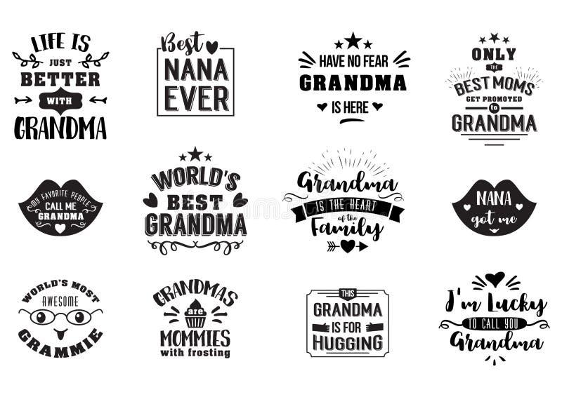 La meilleure grand-maman manuscrite dans le noir illustration libre de droits