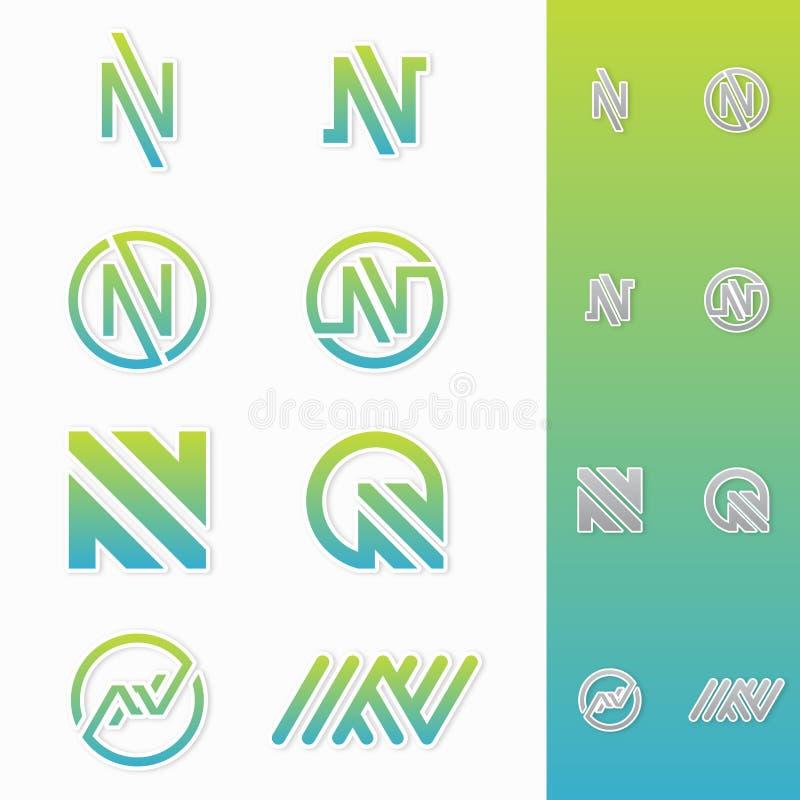 La meilleure icône simple de logo de la lettre N illustration stock