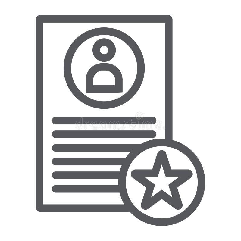 La meilleure ligne de proposition icône, travail et recrutement, signe de résumé, graphiques de vecteur, un modèle linéaire  illustration stock
