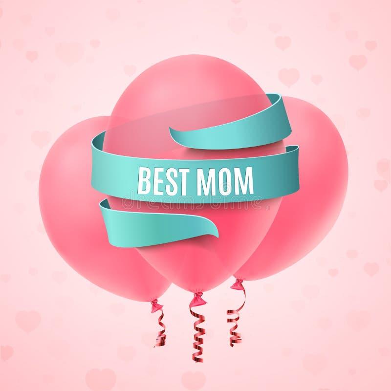 La meilleure maman carte de voeux de jour de mères illustration de vecteur