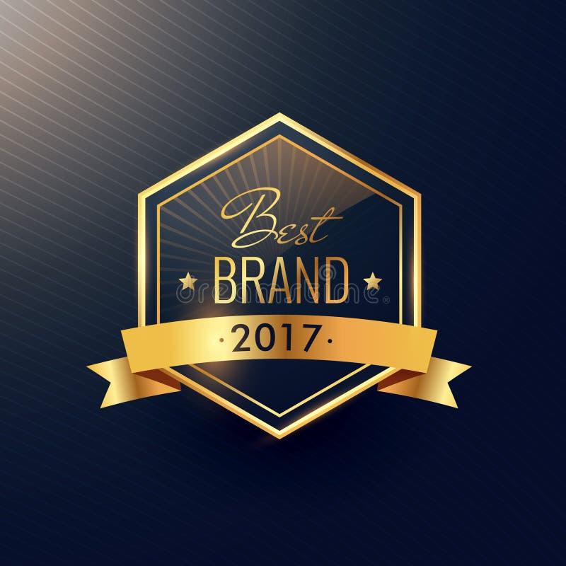 La meilleure marque de la conception d'or du label 2017 illustration libre de droits