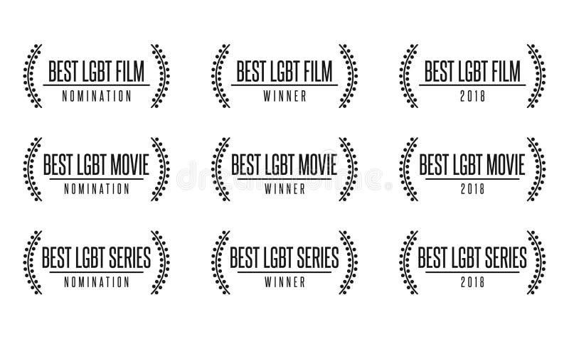 La meilleure récompense de nomiation de série de pellicule cinématographique de lgbt illustration libre de droits