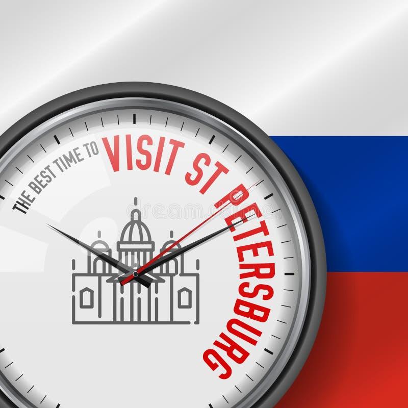 La mejor época para la visita St Petersburg Reloj del vector con lema Fondo ruso de la bandera Icono de la catedral de Isaac del  ilustración del vector