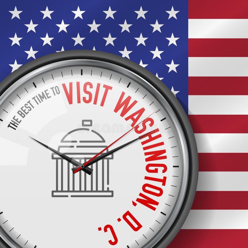 La mejor época para la visita Washington, D C Reloj del vector con lema Fondo del indicador de los E Reloj analogico Icono del ca libre illustration