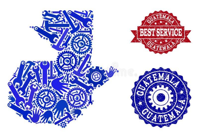 La mejor composición del servicio del mapa de los sellos de Guatemala y de la desolación stock de ilustración