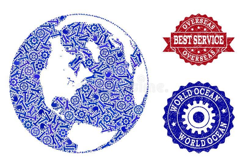 La mejor composición del servicio del mapa del océano global y de sellos rasguñados ilustración del vector