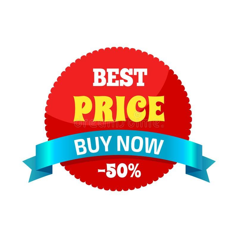 La mejor compra ahora -50 del precio en el ejemplo del vector stock de ilustración