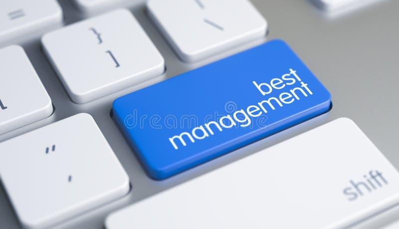La mejor gestión - subtítulo en llave de teclado azul 3d ilustración del vector