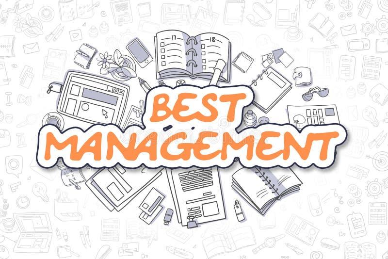 La mejor gestión - texto de la naranja del garabato Concepto del asunto stock de ilustración